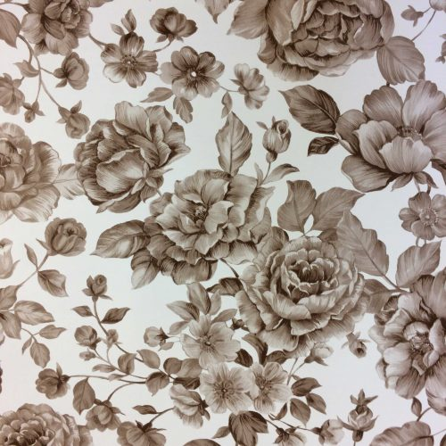 Flowers in Taupe Oilcloth