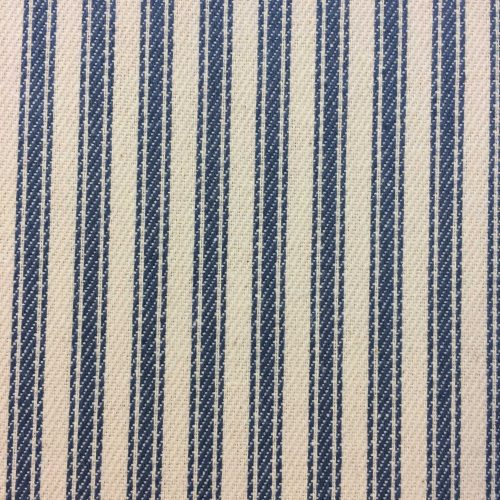 Blue Ticking Fabric for curtains, blinds and home soft furnishings