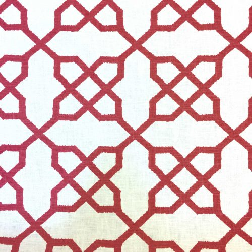 Red Geometric Cross Link Linen Fabric