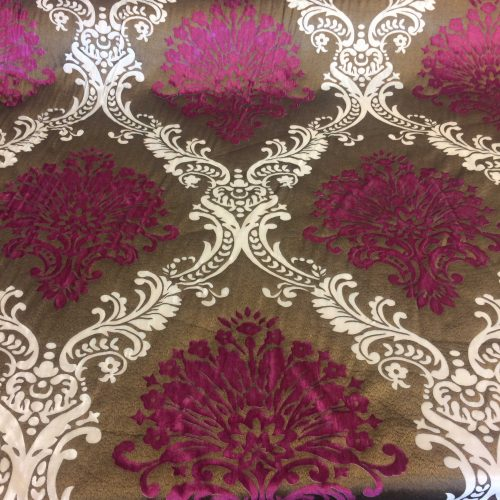 Brocade Fabric in Brown, Cerise and Cream by James Brindley Fabrics