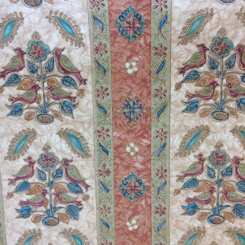 Kashmir by Crowson Fabric floral stripe and bird design