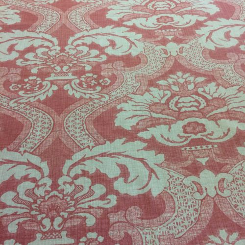 Meredith in Coral by Nina Campbell damask design fabric on the roll