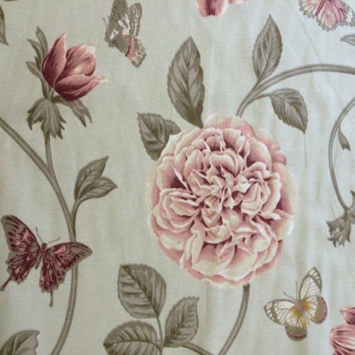 Cabbage Roses & Butterflies in Soft Sage