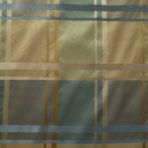 Green Brown Check in silk
