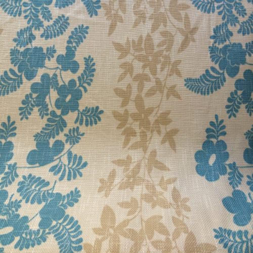 Turquoise Blue, Cream and Beige Floral