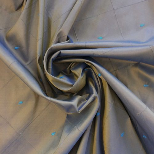 Brown Silk Mix with Embroidered Blue Paisley luxury fabric on the roll