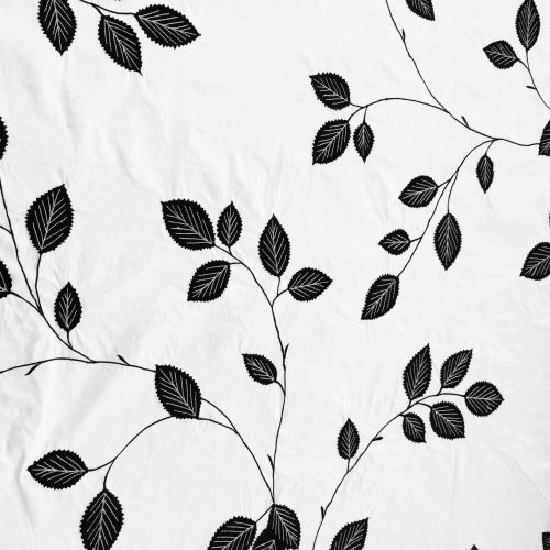 Monochrome Embroidered Botanicals on silk mixed blend fabric