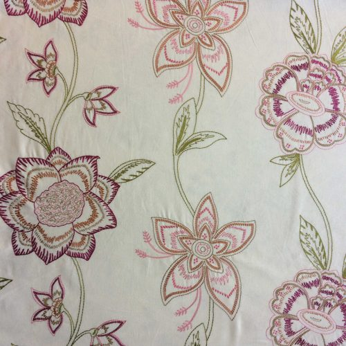 Paradise Rose by Revolucion Textil embroidered flowers on linen